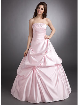 Ball-Gown Strapless Floor-Length Satin Prom Dress With Ruffle Beading