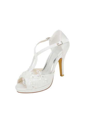 Women's Peep Toe Platform Stiletto Heel Silk Like Satin With Stitching Lace Pearl Wedding Shoes