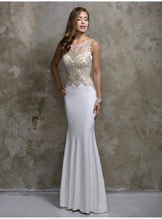Trumpet/Mermaid Scoop Neck Floor-Length Evening Dresses With Beading