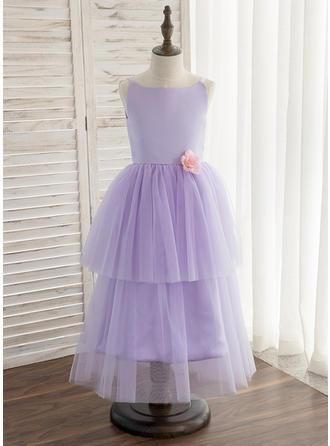 A-Line/Princess Tea-length Flower Girl Dress - Satin/Tulle Sleeveless Straps With Flower(s)