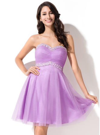 Empire Ruffle Beading Sequins Tulle Homecoming Dresses Sweetheart Sleeveless Short/Mini