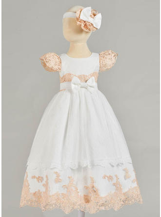 Tulle Lace Scoop Neck Bow(s) Baby Girl's Christening Gowns With Short Sleeves