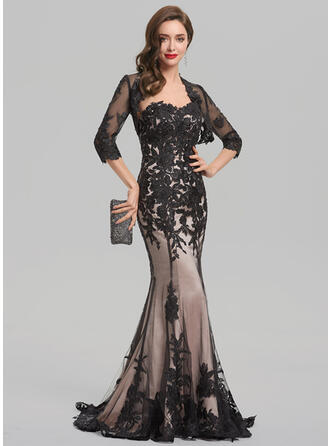 Trumpet/Mermaid Sweetheart Sweep Train Lace Evening Dress