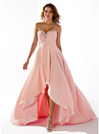 Chiffon Sleeveless Empire Prom Dresses Sweetheart Ruffle Beading Sequins Asymmetrical