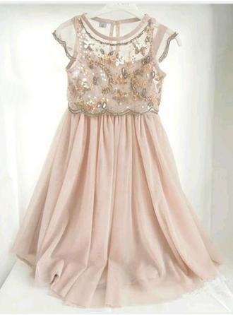 A-Line/Princess Scoop Neck Floor-length With Lace/Beading/Sequins Chiffon Flower Girl Dress (010146809)
