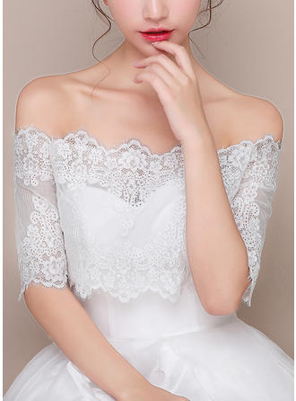 Wrap Wedding Lace Tulle Half-Sleeve With Lace Wraps (013125012)