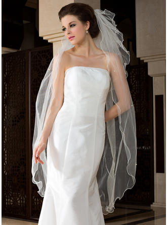Waltz Bridal Veils Tulle Three-tier Angel cut/Waterfall With Scalloped Edge Wedding Veils