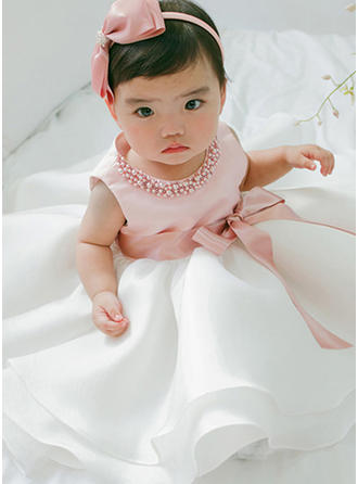 Satin Tulle Scoop Neck Beading Baby Girl's Christening Gowns With Sleeveless