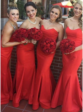 Satin Sleeveless Trumpet/Mermaid Bridesmaid Dresses Sweetheart Sweep Train (007146971)