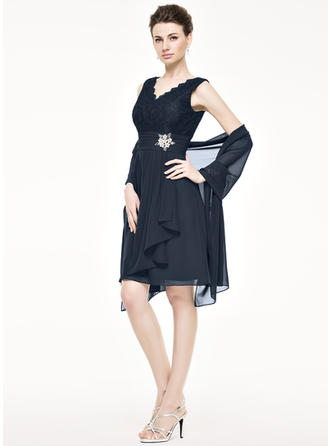 A-Line/Princess V-neck Knee-Length Mother of the Bride Dresses With Beading Sequins Cascading Ruffles (008211122)