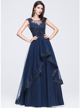 Tulle Sleeveless A-Line/Princess Prom Dresses Scoop Neck Beading Appliques Lace Sequins Floor-Length