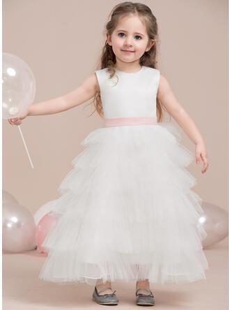 A-Line/Princess Ankle-length Flower Girl Dress - Satin/Tulle Sleeveless Scoop Neck