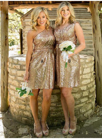 A-Line/Princess One-Shoulder V-neck Knee-Length Sequined Bridesmaid Dresses