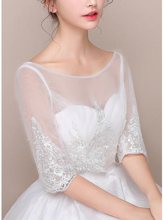 Wrap Wedding Lace Tulle 3/4-Length Sleeve With Lace Wraps