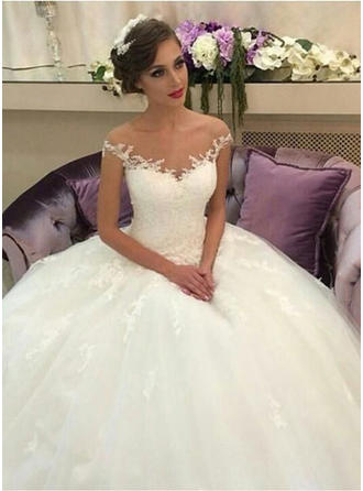 Ball-Gown Tulle Lace Sleeveless Off-The-Shoulder Court Train Wedding Dresses