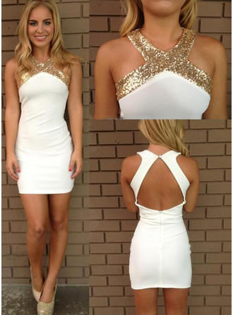 Sheath/Column Sequins Stretch Crepe Homecoming Dresses V-neck Sleeveless Short/Mini