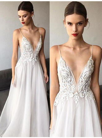 A-Line/Princess Deep V Neck Sweep Train Wedding Dress With Appliques Lace