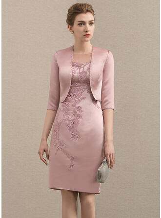 Sheath/Column Scoop Neck Knee-Length Satin Mother of the Bride Dress With Beading Appliques Lace