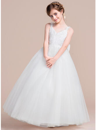 A-Line/Princess Floor-length Flower Girl Dress - Tulle Sleeveless V-neck With Flower(s)/Bow(s)