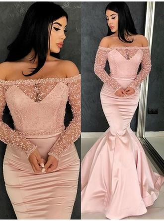 Trumpet/Mermaid Off-the-Shoulder Satin Long Sleeves Sweep Train Ruffle Evening Dresses