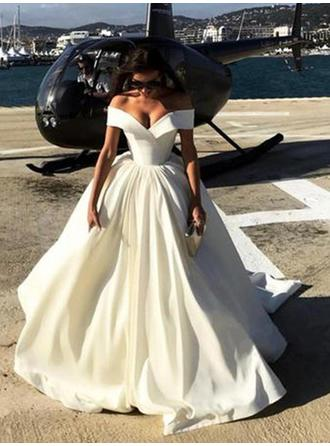 Off-The-Shoulder Ball-Gown Wedding Dresses Satin Ruffle Sleeveless Sweep Train