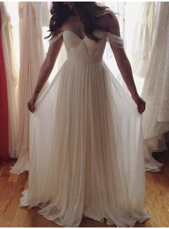 A-Line/Princess Off-The-Shoulder Floor-Length Chiffon Wedding Dresses