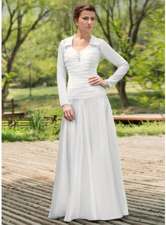 Fashion Scoop A-Line/Princess Wedding Dresses Floor-Length Chiffon Charmeuse Long Sleeves
