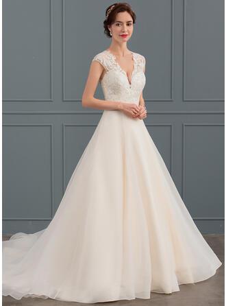 Ball-Gown V-neck Court Train Organza Wedding Dress