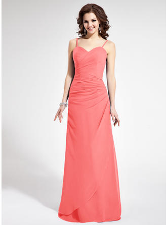 Sheath/Column Sweetheart Floor-Length Bridesmaid Dresses With Ruffle