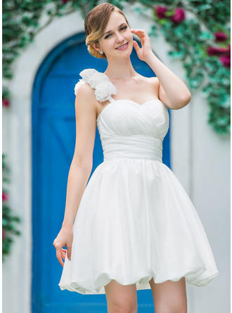 Simple Short/Mini A-Line/Princess Wedding Dresses One Shoulder Taffeta Sleeveless
