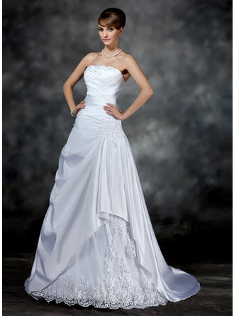 Ruffle Beading Appliques Sleeveless Strapless Satin A-Line/Princess Wedding Dresses