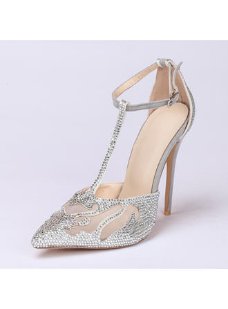 Women's Closed Toe Pumps Stiletto Heel Suede With Rhinestone Wedding Shoes