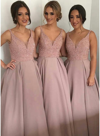 Satin Sleeveless A-Line/Princess Bridesmaid Dresses V-neck Beading Sequins Asymmetrical