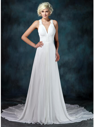 Newest Chapel Train A-Line/Princess Wedding Dresses Sweetheart Chiffon Sleeveless