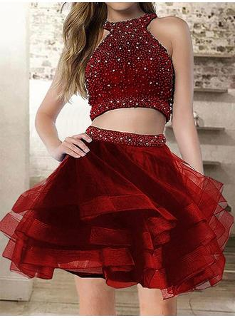Modern Organza Homecoming Dresses A-Line/Princess Short/Mini Scoop Neck Sleeveless