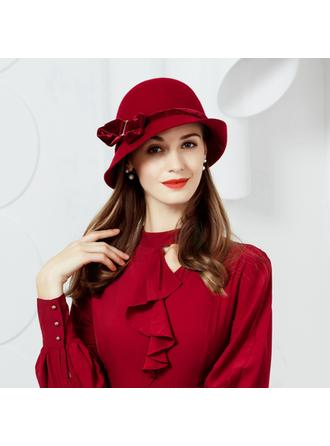 Wool With Bowknot Bowler/Cloche Hat 53-58 Hats (196195648)