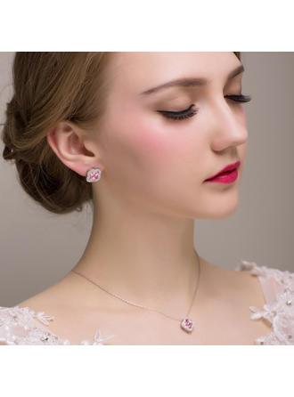Jewelry Sets Alloy/Zircon Pierced Ladies' Simple Wedding & Party Jewelry