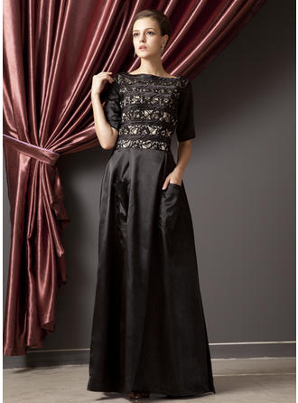 A-Line/Princess Charmeuse 1/2 Sleeves Scoop Neck Floor-Length Zipper Up Mother of the Bride Dresses