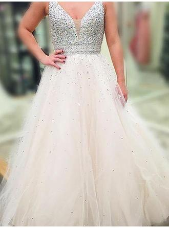 Tulle Sleeveless A-Line/Princess Prom Dresses V-neck Beading Sequins Floor-Length