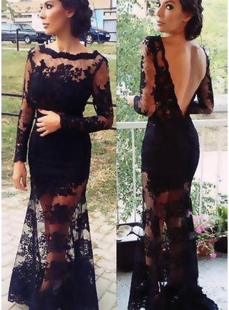 Lace Long Sleeves Trumpet/Mermaid Prom Dresses Scoop Neck Lace Sweep Train