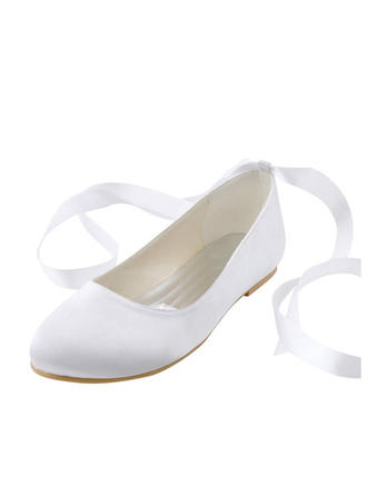 Kvinner Flate sko Flat Hæl silke som sateng med Båndknute Brudesko
