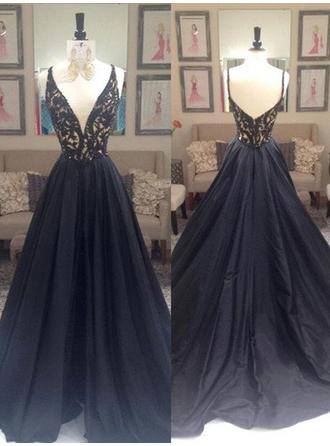 Magnificent Taffeta Evening Dresses Sweep Train A-Line/Princess Sleeveless V-neck
