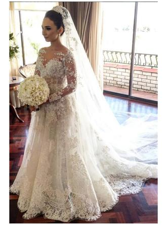 A-Line/Princess Scoop Court Train Wedding Dress With Beading Appliques Lace Sequins