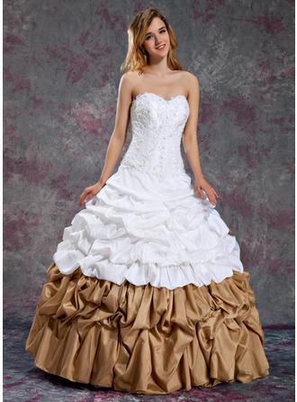 Ball-Gown Sweetheart Floor-Length Taffeta Prom Dress With Ruffle Beading