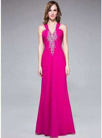 Trumpet/Mermaid V-neck Chiffon Sleeveless Floor-Length Ruffle Beading Evening Dresses