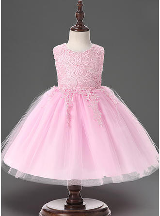 Tulle Scoop Neck Lace Baby Girl's Christening Gowns With Sleeveless