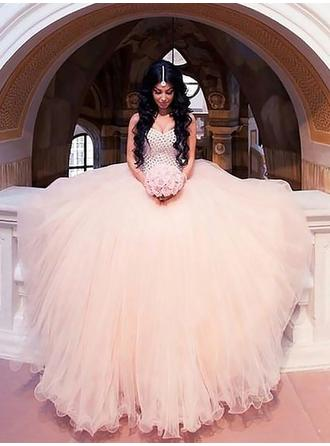 Glamorous Sweep Train Sleeveless Tulle Wedding Dresses