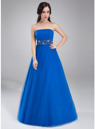 Ball-Gown Tulle Sweetheart Floor-Length Strapless Sleeveless
