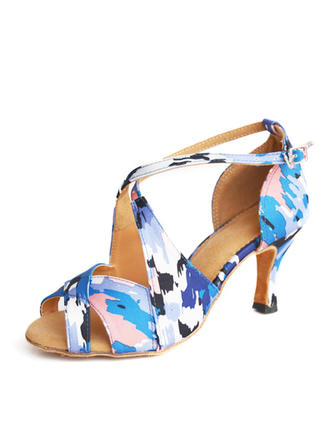 Latin Heels Sandals Satin With Buckle Hollow-out Dance Shoes