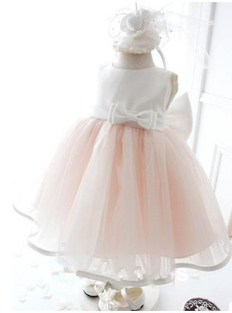 Ball Gown Scoop Neck Knee-length With Bow(s) Satin/Tulle Flower Girl Dresses